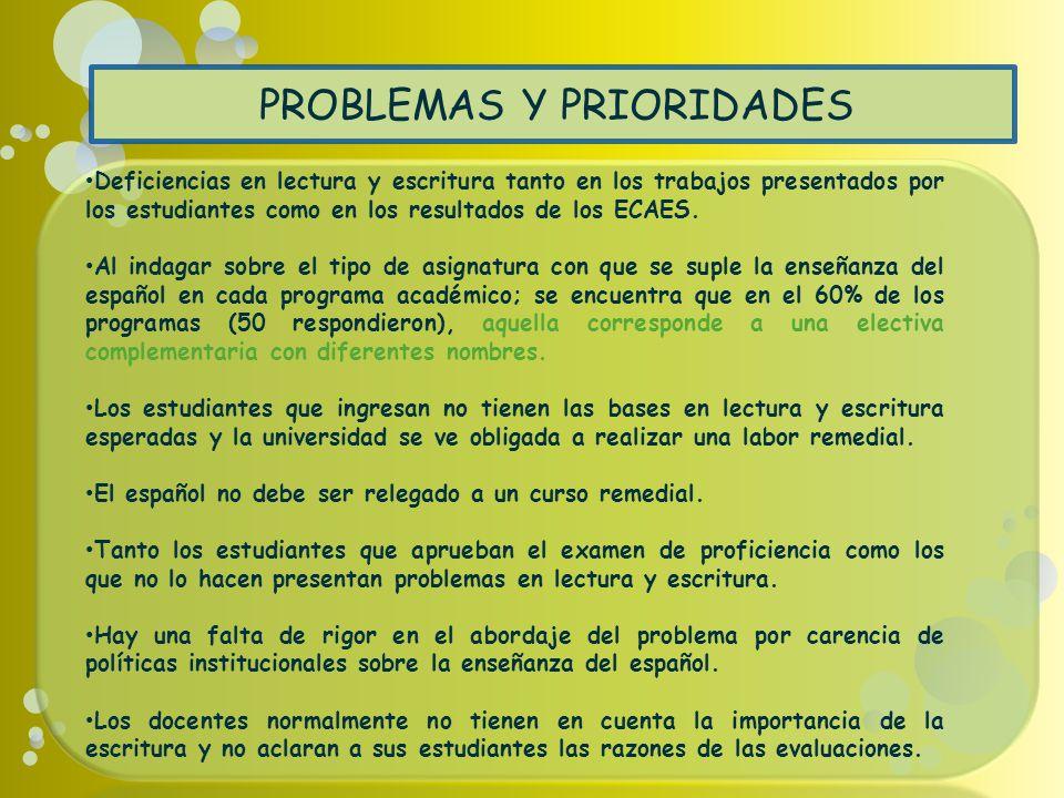 PROBLEMAS Y PRIORIDADES