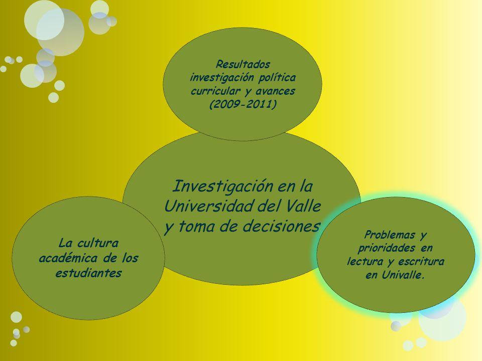 Investigación en la Universidad del Valle y toma de decisiones