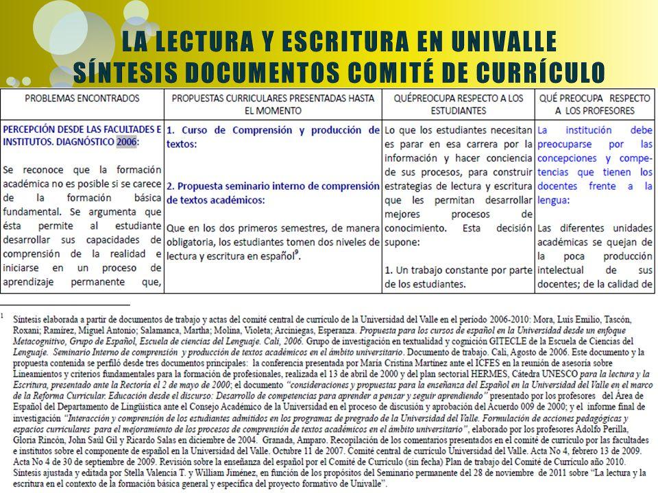 LA LECTURA Y ESCRITURA EN UNIVALLE SÍNTESIS DOCUMENTOS COMITÉ DE CURRÍCULO