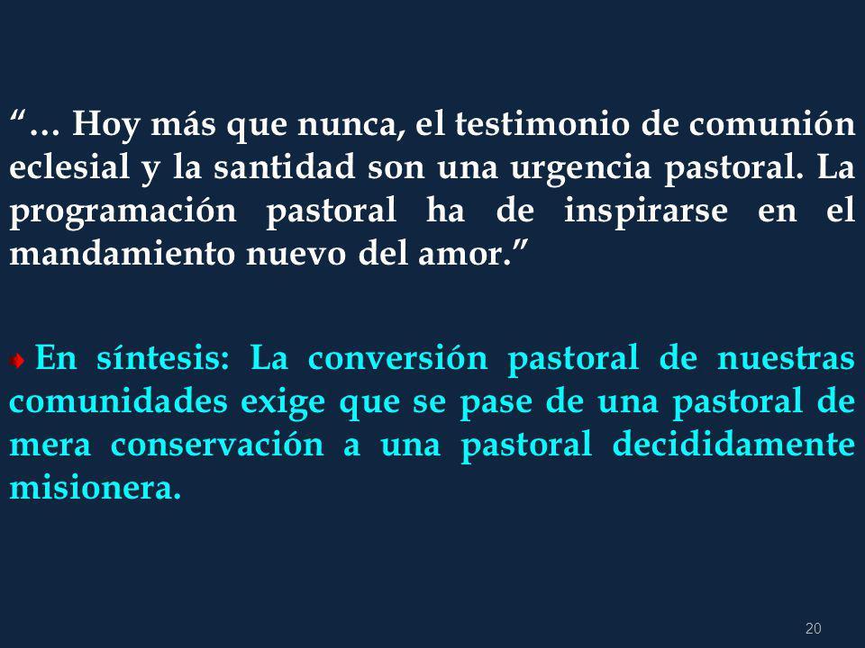 … Hoy más que nunca, el testimonio de comunión eclesial y la santidad son una urgencia pastoral. La programación pastoral ha de inspirarse en el mandamiento nuevo del amor.