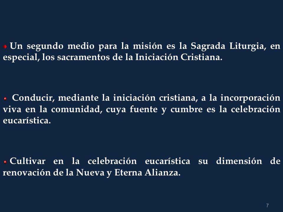 Un segundo medio para la misión es la Sagrada Liturgia, en especial, los sacramentos de la Iniciación Cristiana.