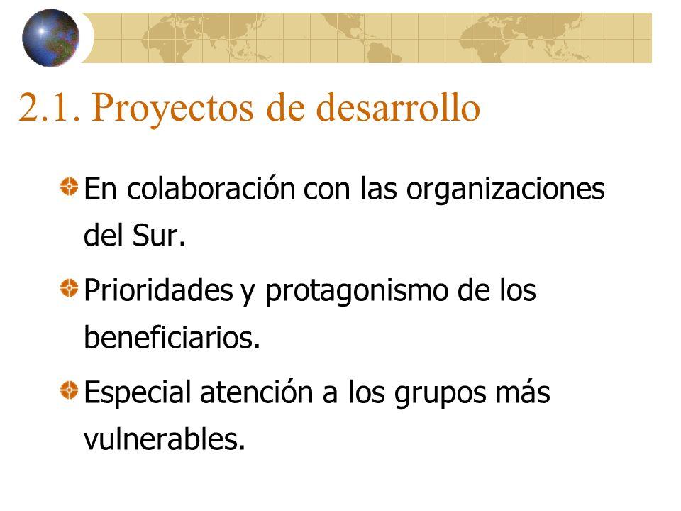 2.1. Proyectos de desarrollo