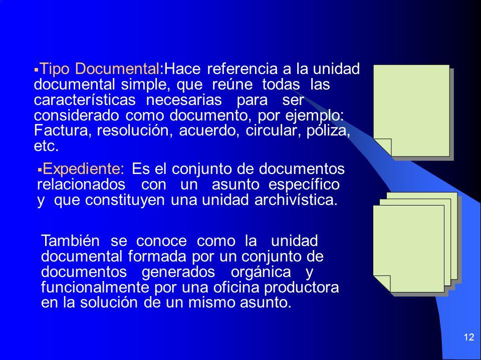 Tipo Documental:Hace referencia a la unidad documental simple, que reúne todas las características necesarias para ser considerado como documento, por ejemplo: Factura, resolución, acuerdo, circular, póliza, etc.
