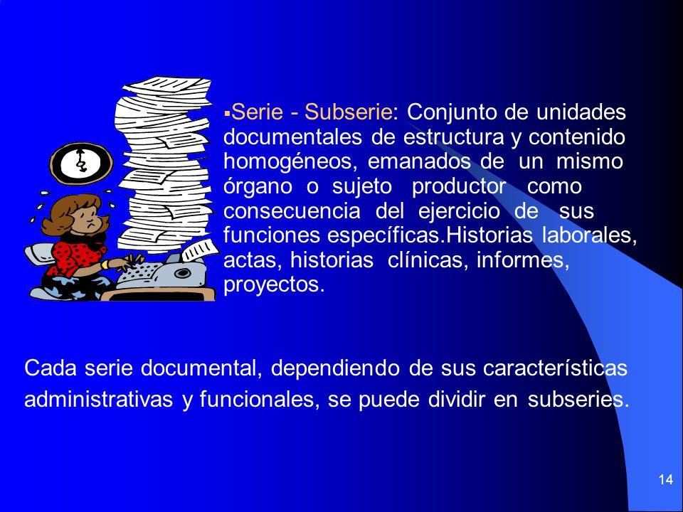 Serie - Subserie: Conjunto de unidades documentales de estructura y contenido homogéneos, emanados de un mismo órgano o sujeto productor como consecuencia del ejercicio de sus funciones específicas.Historias laborales, actas, historias clínicas, informes, proyectos.