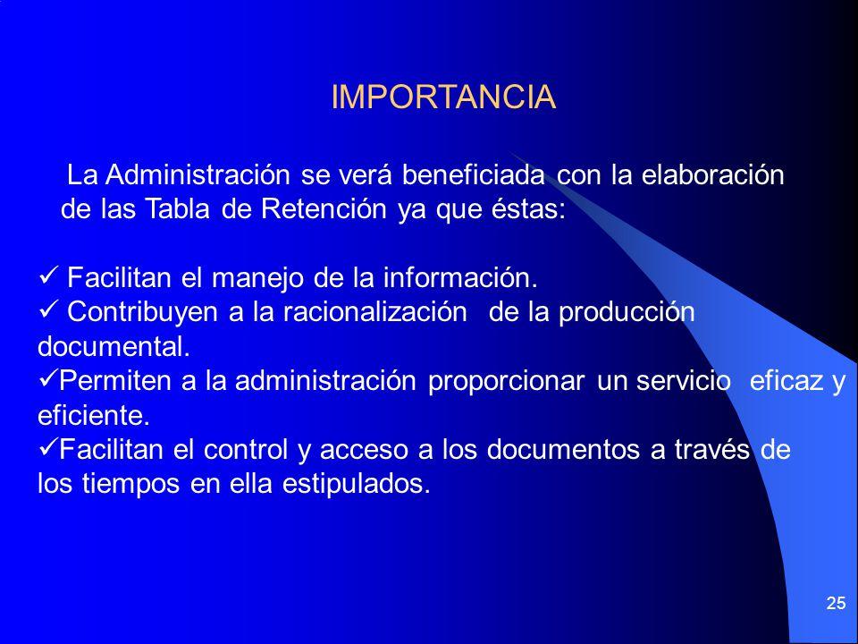 IMPORTANCIA La Administración se verá beneficiada con la elaboración
