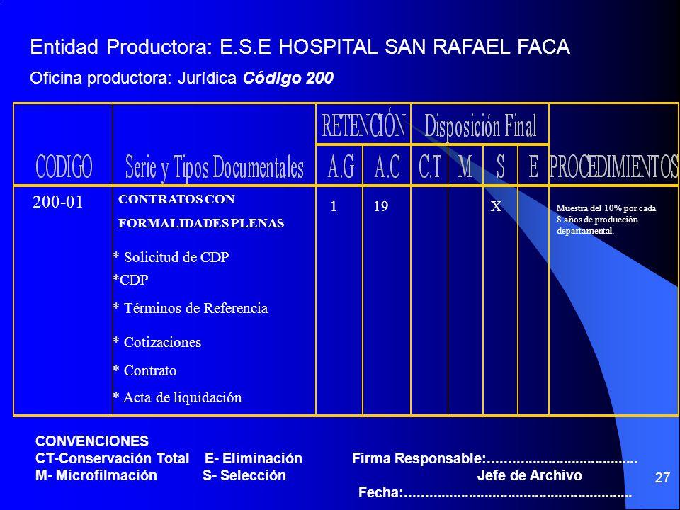 Entidad Productora: E.S.E HOSPITAL SAN RAFAEL FACA