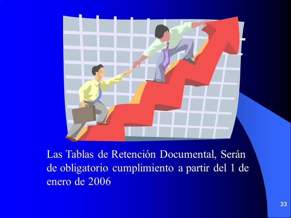 Las Tablas de Retención Documental, Serán de obligatorio cumplimiento a partir del 1 de enero de 2006