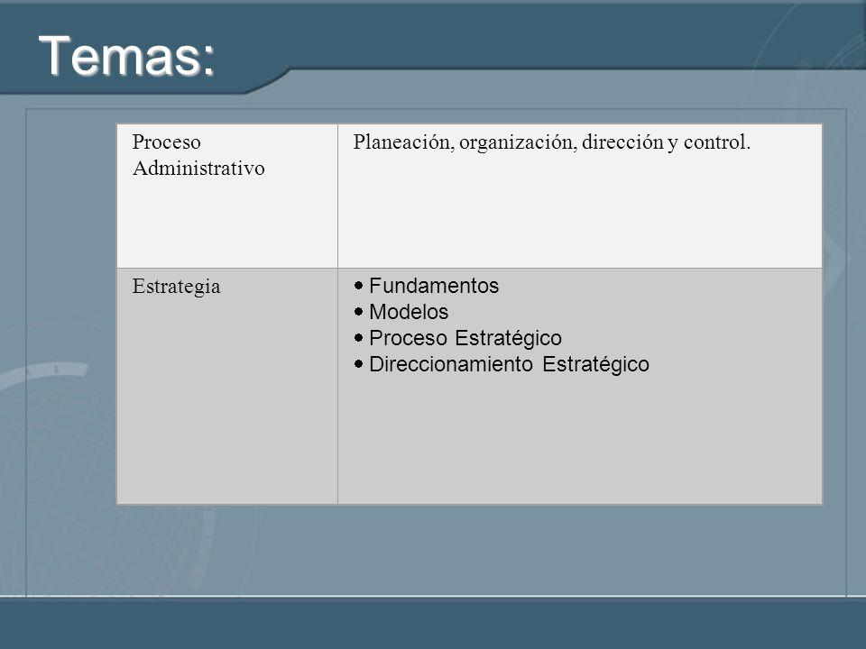 Temas: Proceso Administrativo