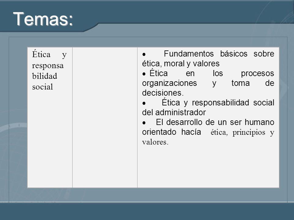 Temas: Ética y responsabilidad social
