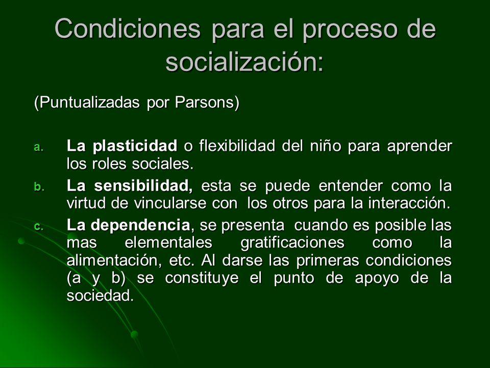 Condiciones para el proceso de socialización: