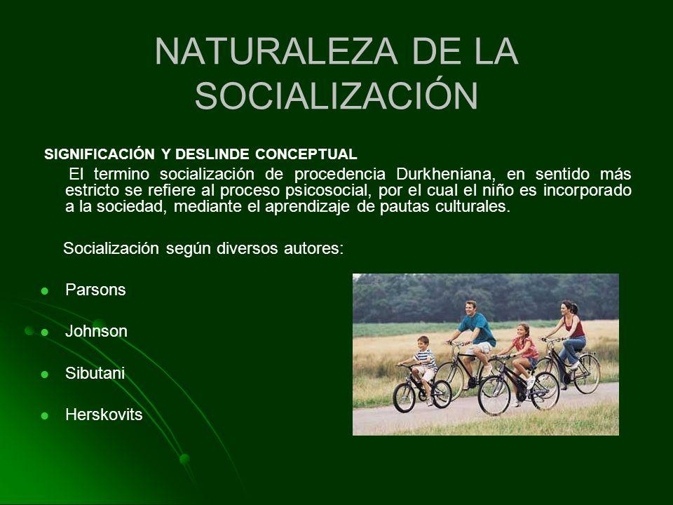 NATURALEZA DE LA SOCIALIZACIÓN