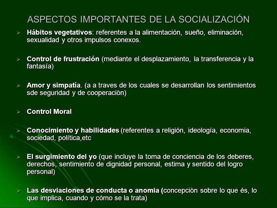 ASPECTOS IMPORTANTES DE LA SOCIALIZACIÓN