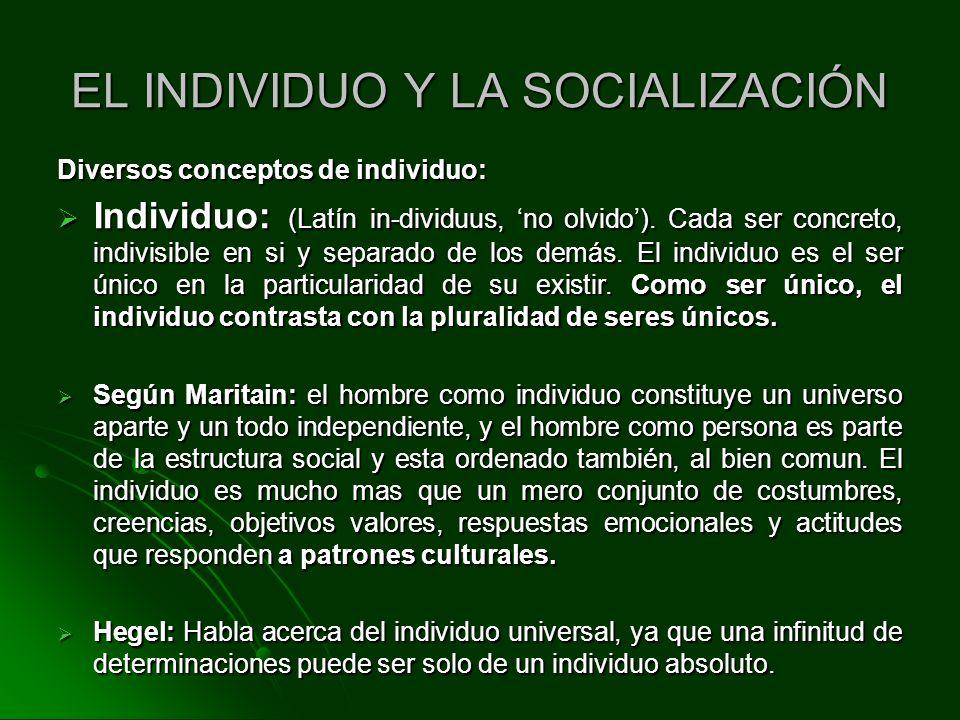 EL INDIVIDUO Y LA SOCIALIZACIÓN
