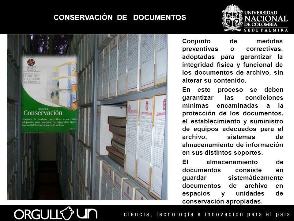 CONSERVACIÓN DE DOCUMENTOS