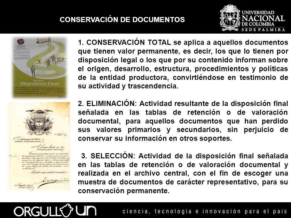 CONSERVACIÓN DE DOCUMENTOS