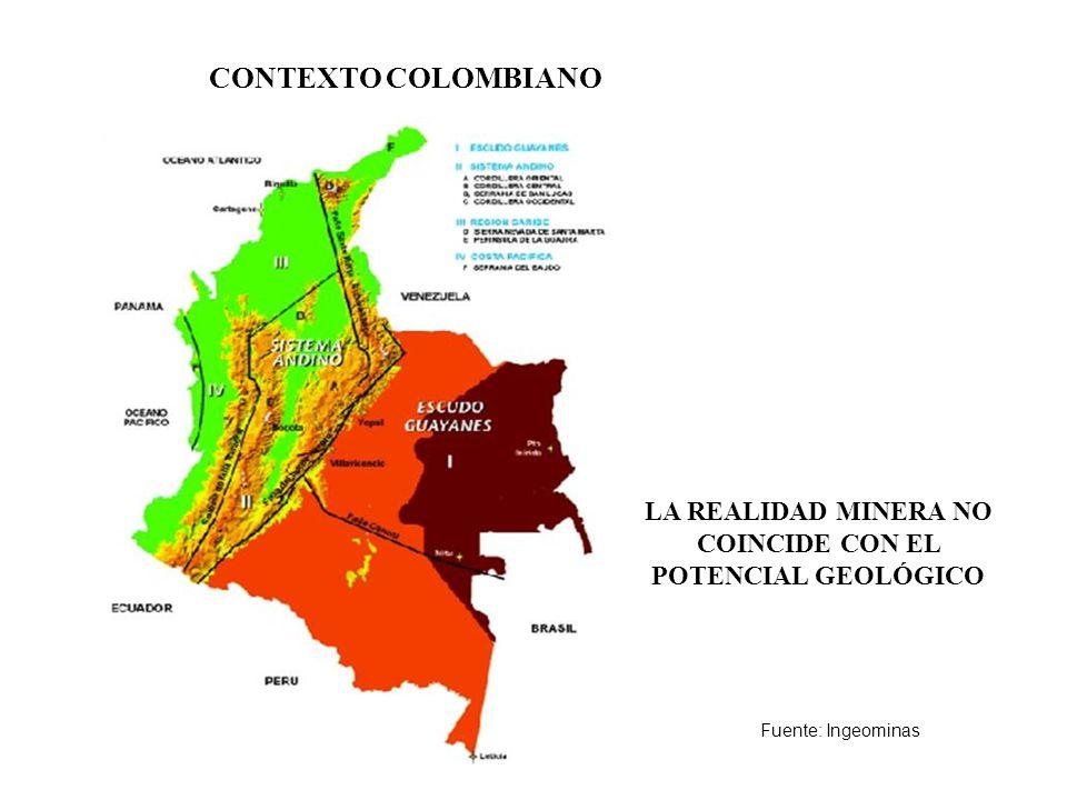LA REALIDAD MINERA NO COINCIDE CON EL POTENCIAL GEOLÓGICO