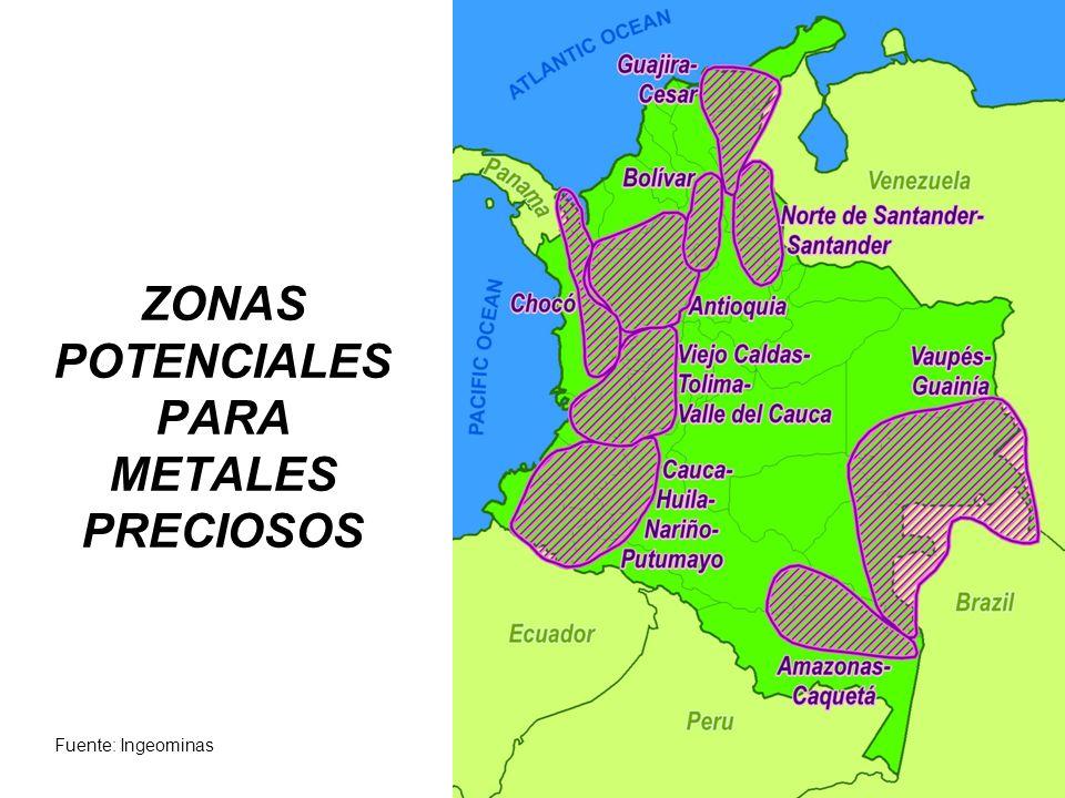 ZONAS POTENCIALES PARA METALES PRECIOSOS