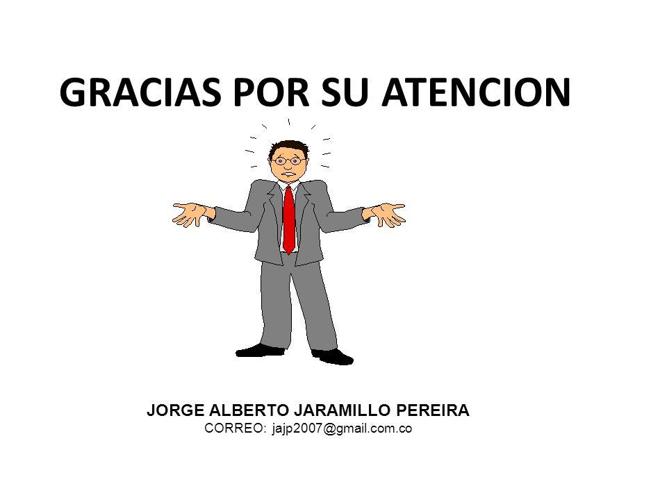 GRACIAS POR SU ATENCION JORGE ALBERTO JARAMILLO PEREIRA