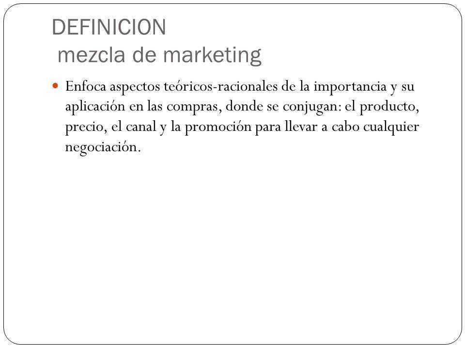 DEFINICION mezcla de marketing