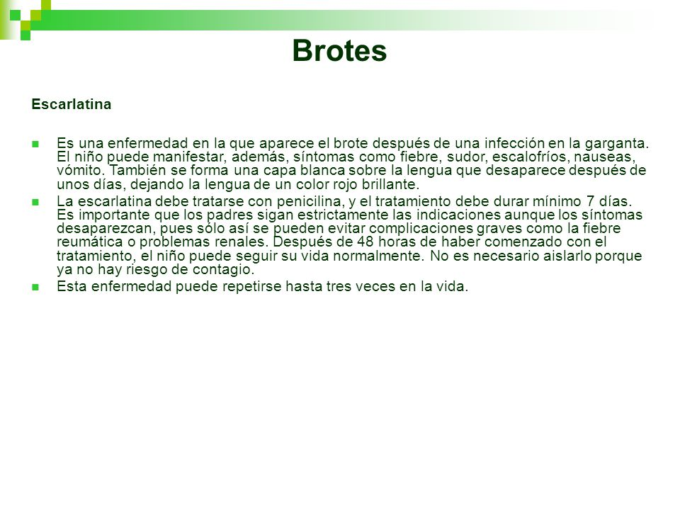 Brotes Escarlatina.