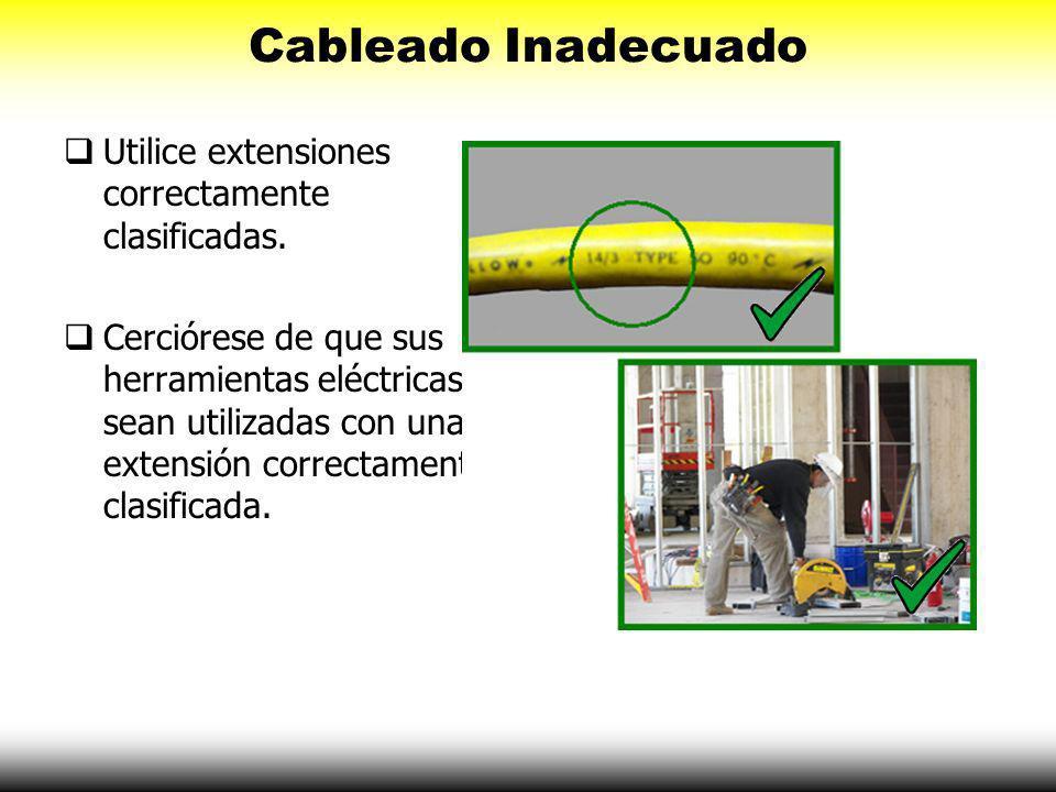 Cableado Inadecuado Utilice extensiones correctamente clasificadas.