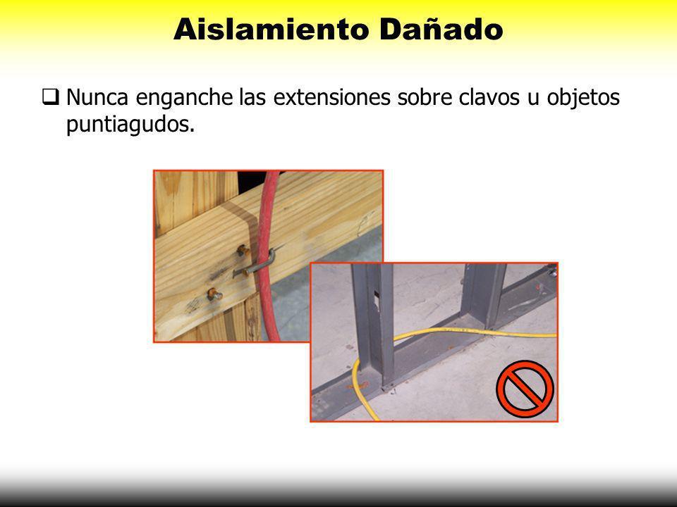 Aislamiento Dañado Nunca enganche las extensiones sobre clavos u objetos puntiagudos.