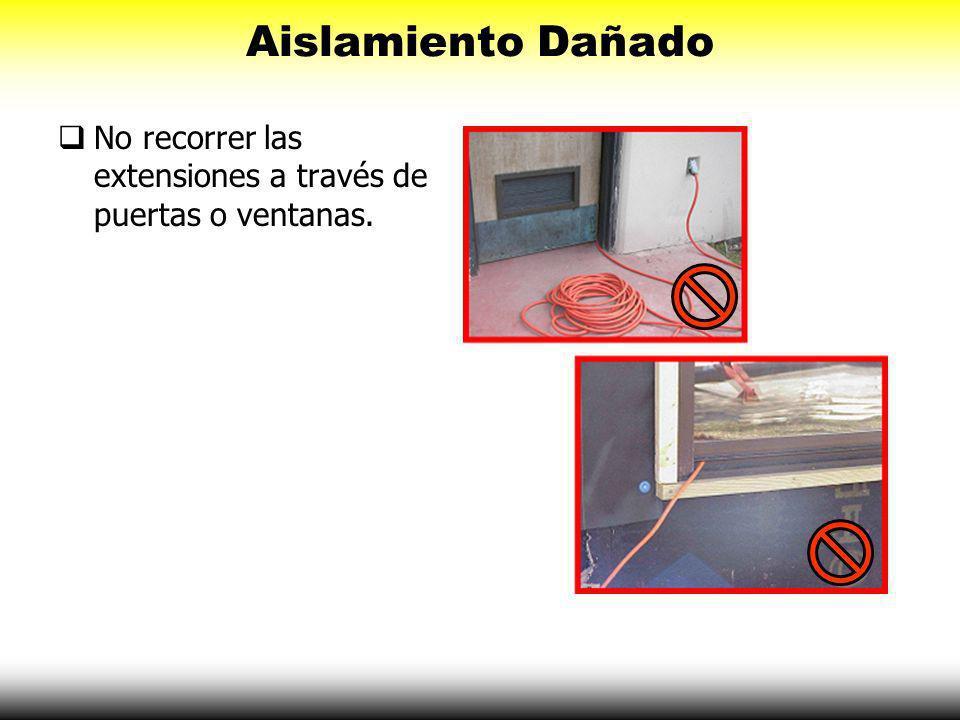 Aislamiento Dañado No recorrer las extensiones a través de puertas o ventanas.