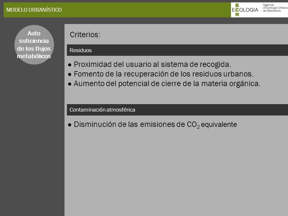 Criterios: ● Proximidad del usuario al sistema de recogida.