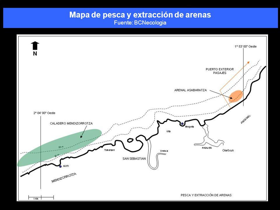 Mapa de pesca y extracción de arenas