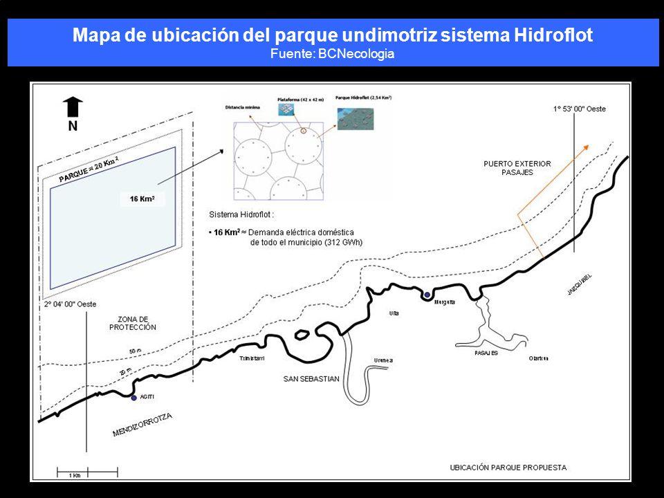Mapa de ubicación del parque undimotriz sistema Hidroflot