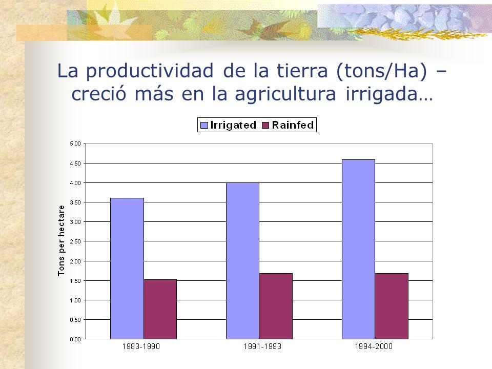La productividad de la tierra (tons/Ha) – creció más en la agricultura irrigada…