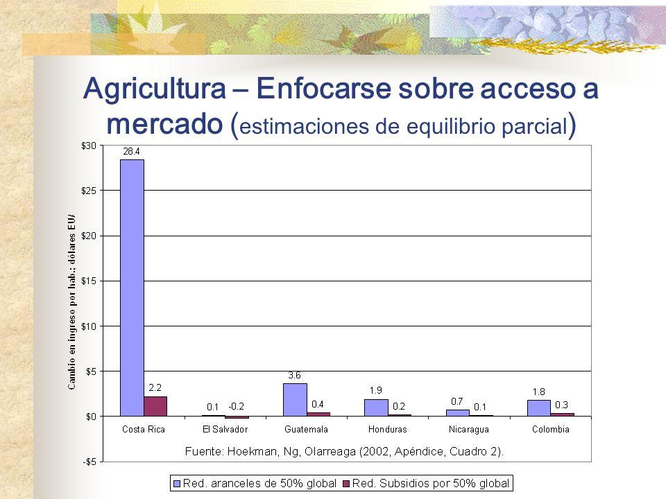 Agricultura – Enfocarse sobre acceso a mercado (estimaciones de equilibrio parcial)