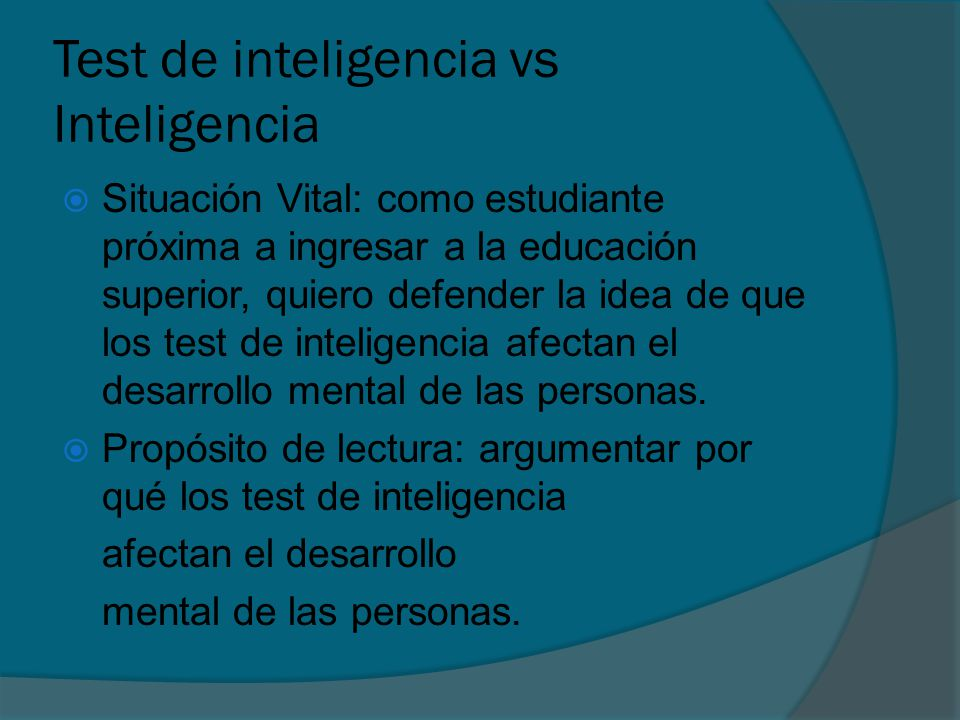 Test de inteligencia vs Inteligencia