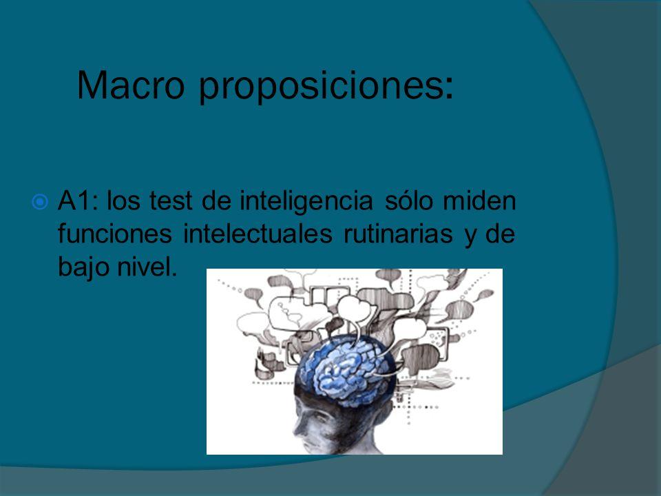 Macro proposiciones: A1: los test de inteligencia sólo miden funciones intelectuales rutinarias y de bajo nivel.