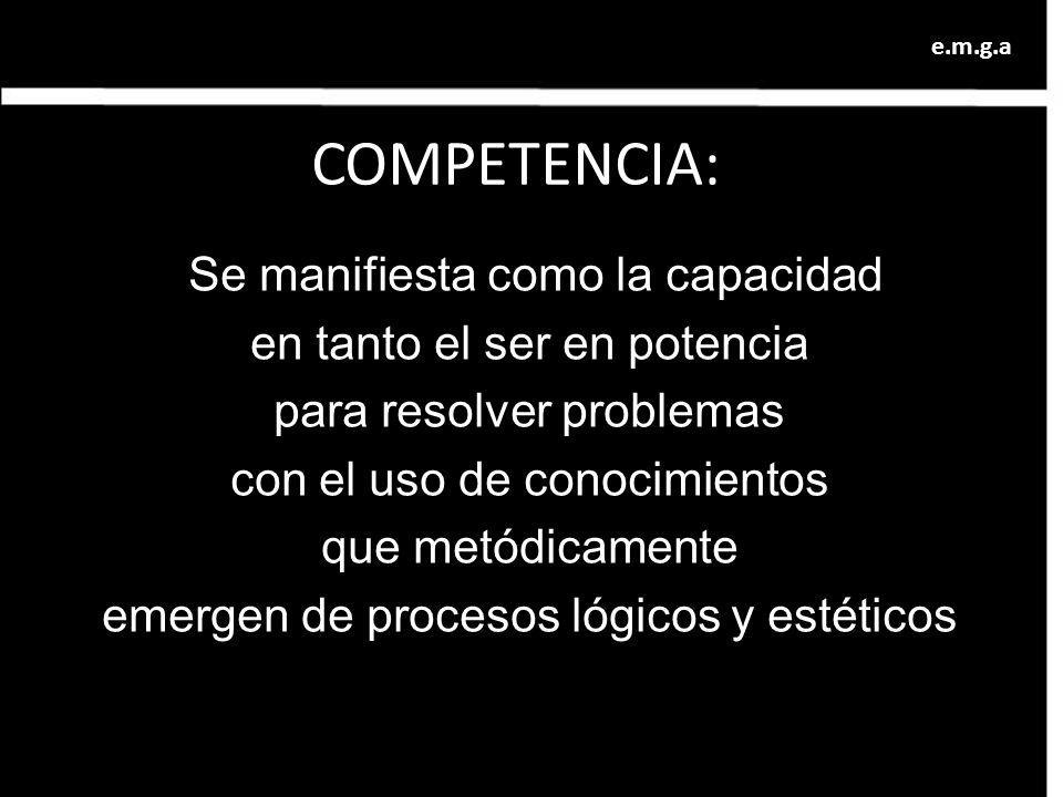 COMPETENCIA: Se manifiesta como la capacidad