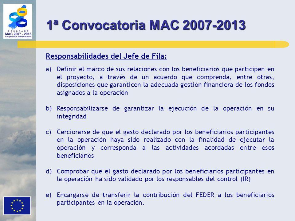 1ª Convocatoria MAC 2007-2013 Responsabilidades del Jefe de Fila: