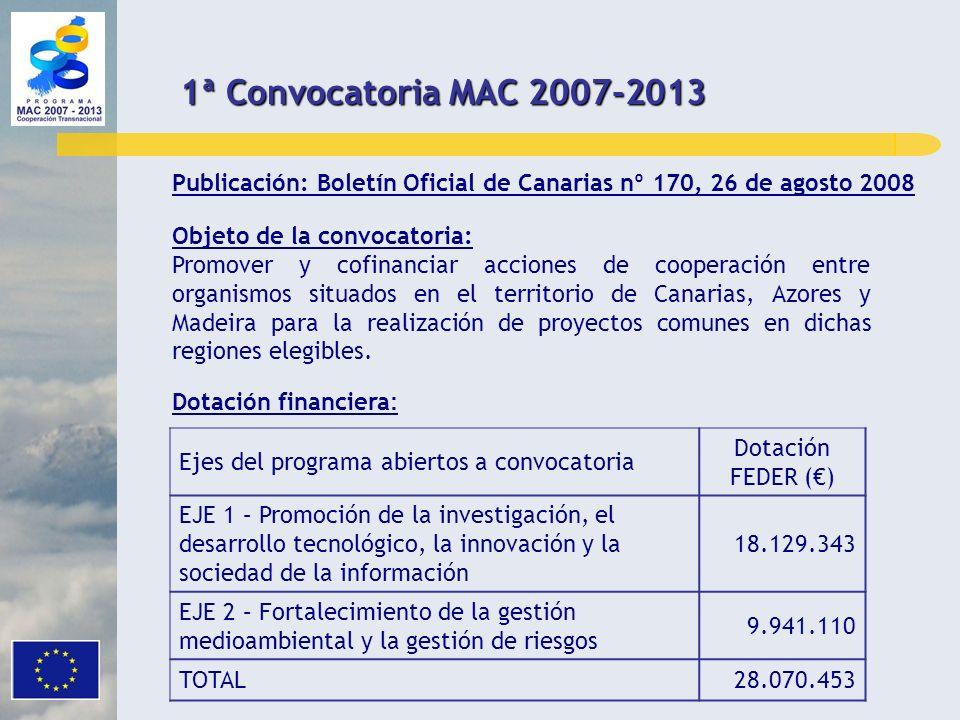 1ª Convocatoria MAC 2007-2013Publicación: Boletín Oficial de Canarias nº 170, 26 de agosto 2008. Objeto de la convocatoria: