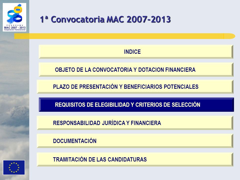 1ª Convocatoria MAC 2007-2013 INDICE