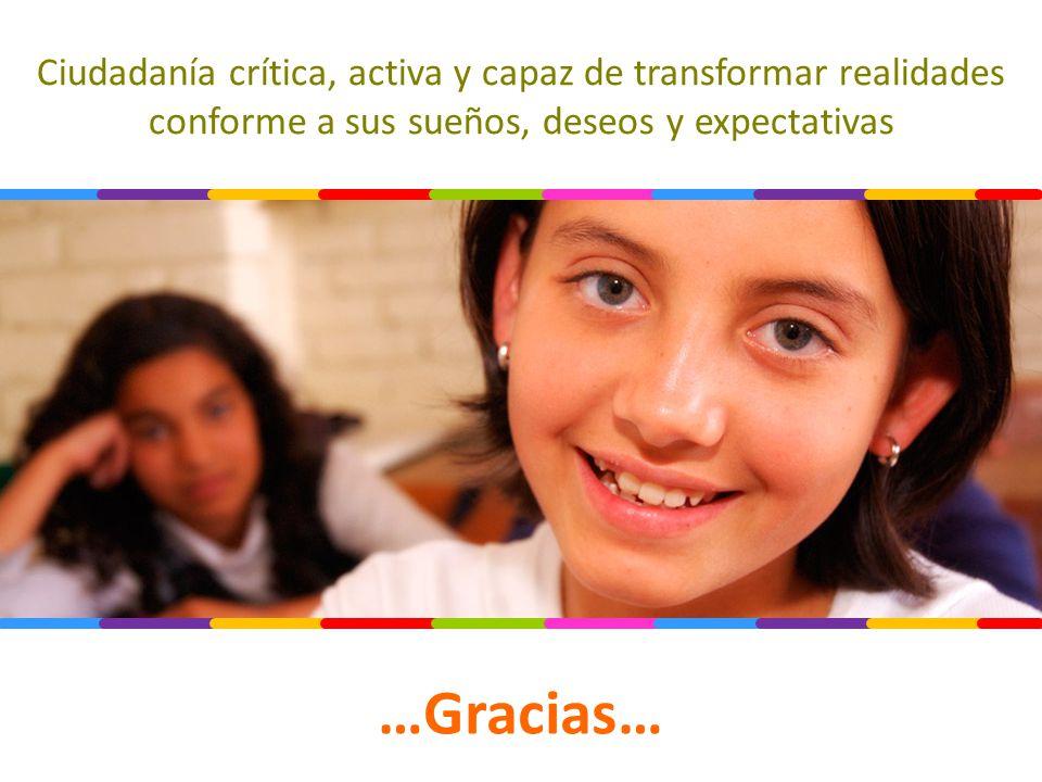 Ciudadanía crítica, activa y capaz de transformar realidades conforme a sus sueños, deseos y expectativas