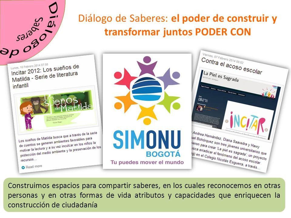 Saberes Diálogo de. Diálogo de Saberes: el poder de construir y transformar juntos PODER CON.