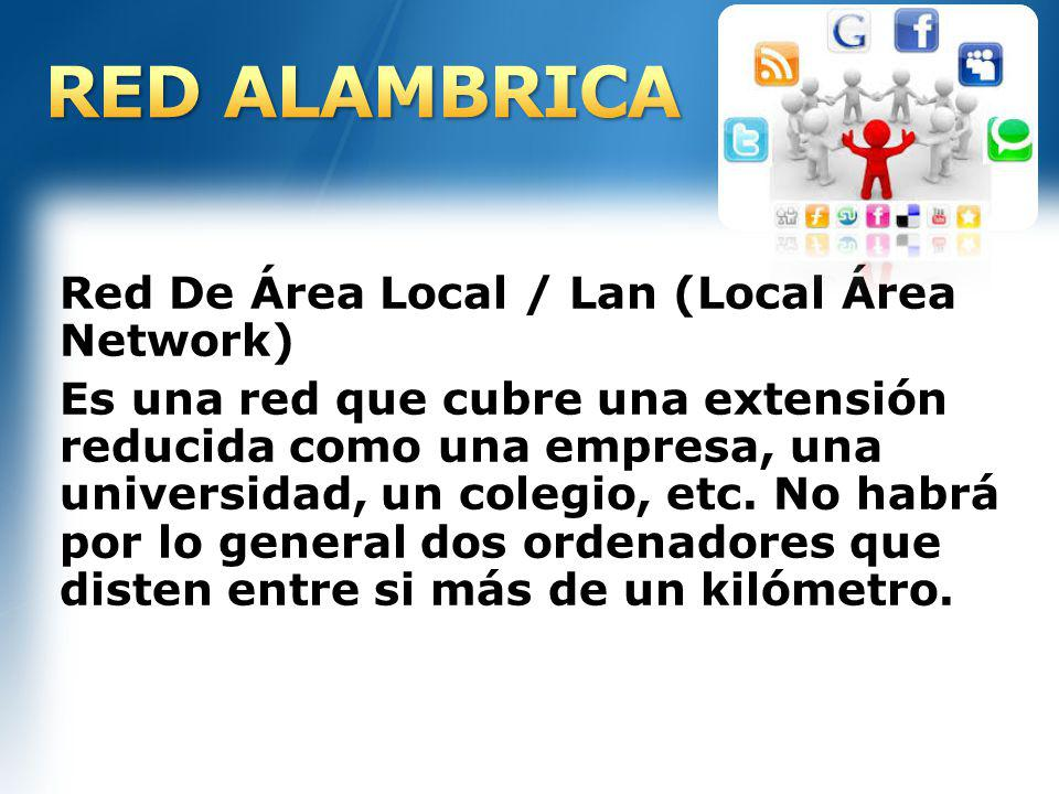 RED ALAMBRICA Red De Área Local / Lan (Local Área Network)