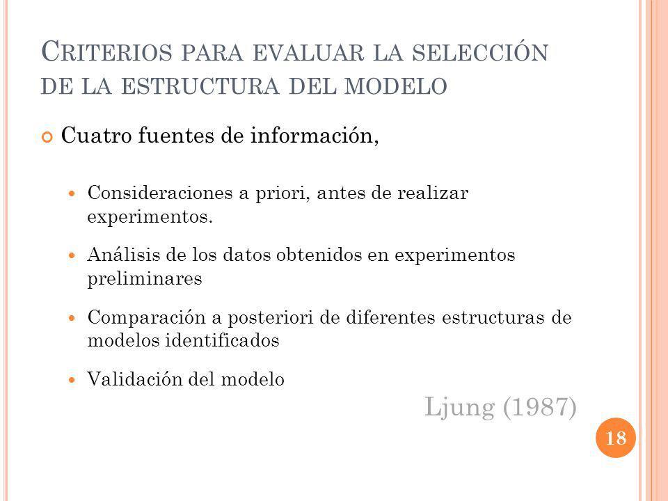 Criterios para evaluar la selección de la estructura del modelo
