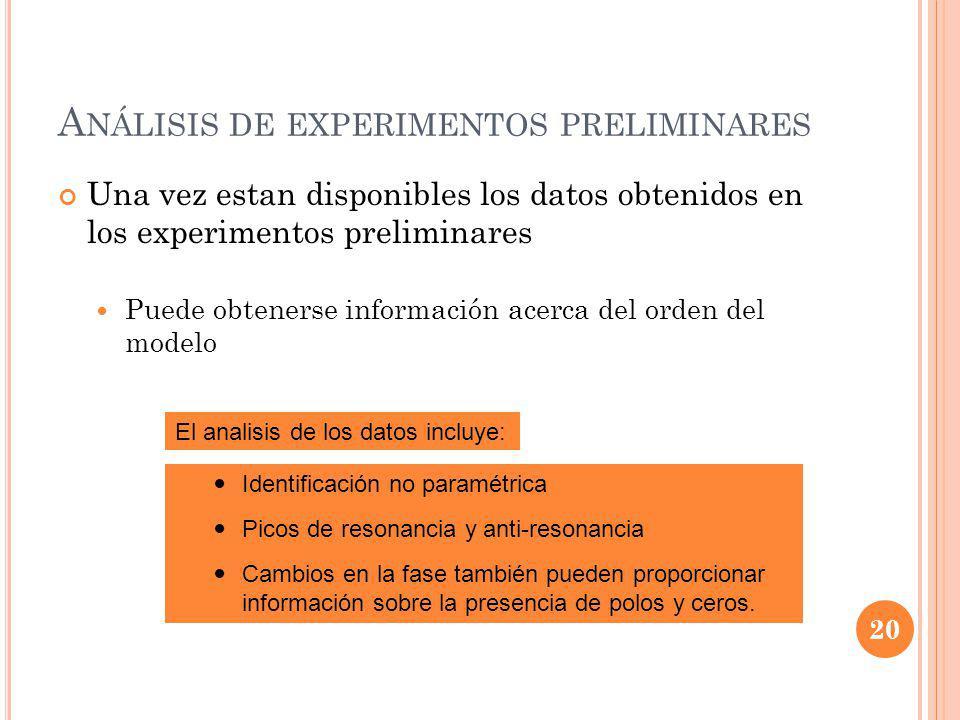 Análisis de experimentos preliminares