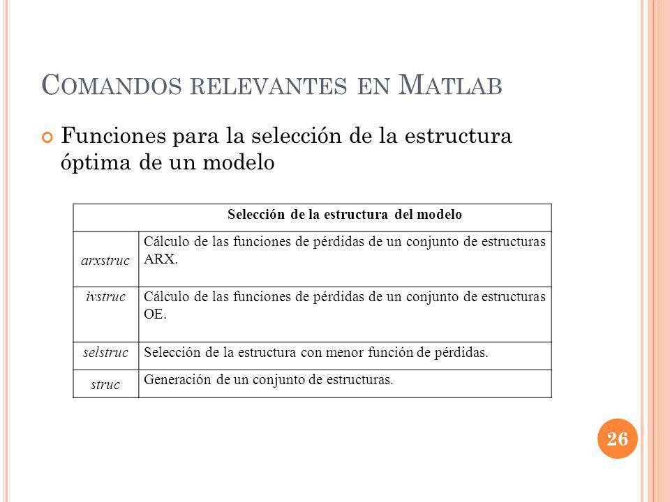 Comandos relevantes en Matlab