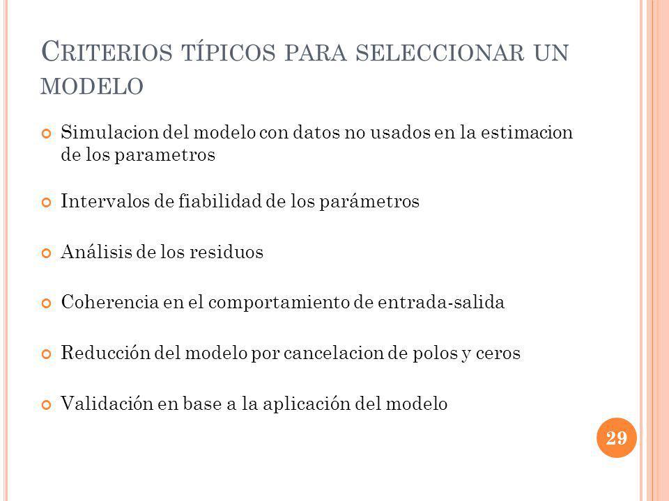 Criterios típicos para seleccionar un modelo