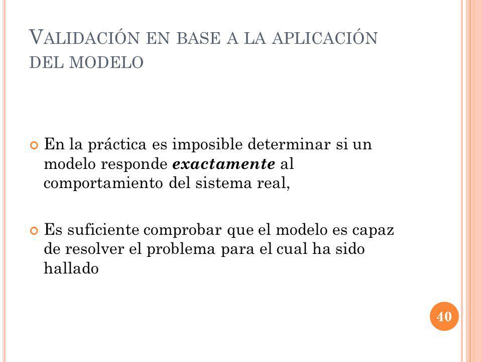 Validación en base a la aplicación del modelo