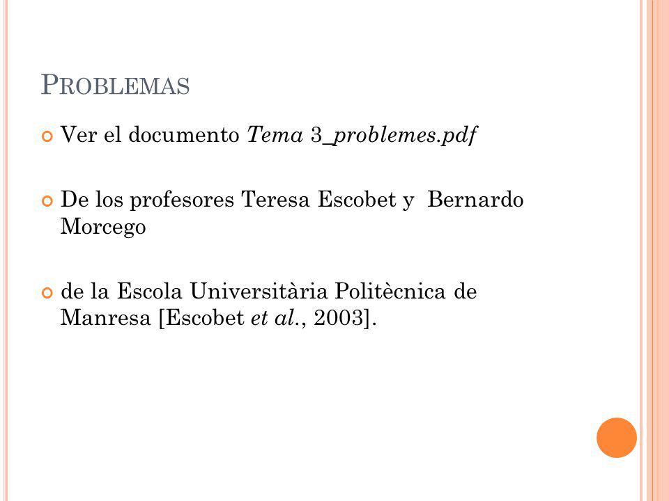 Problemas Ver el documento Tema 3_problemes.pdf