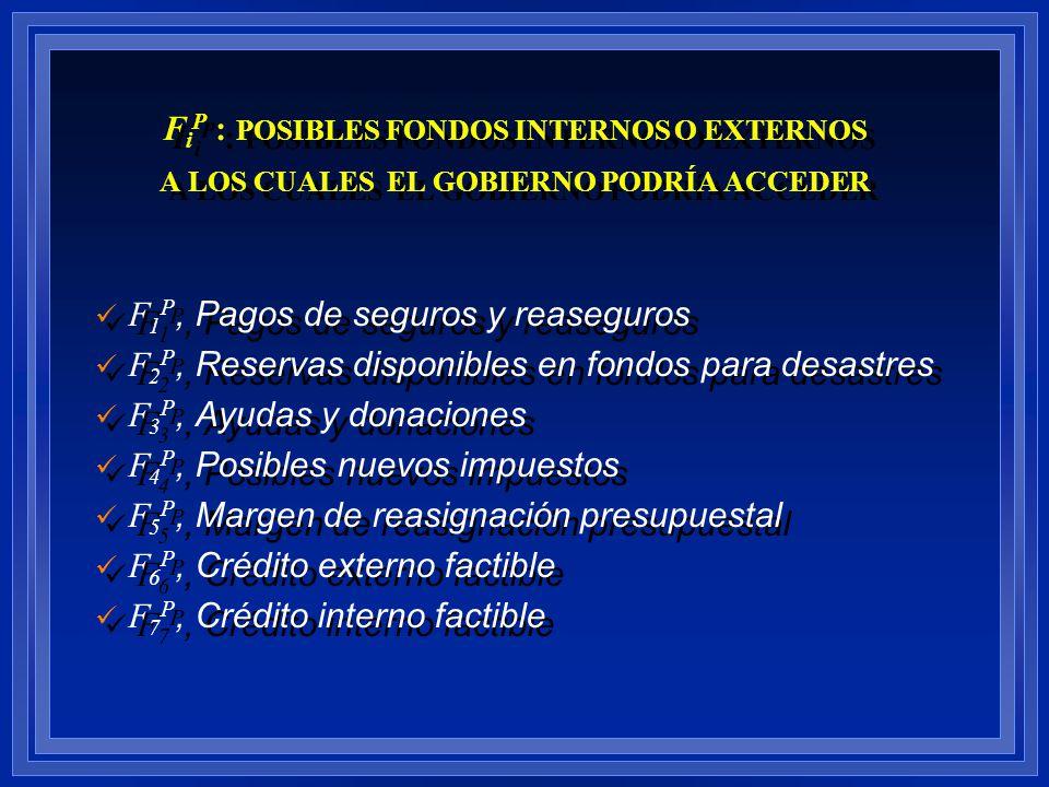 FiP : POSIBLES FONDOS INTERNOS O EXTERNOS A LOS CUALES EL GOBIERNO PODRÍA ACCEDER