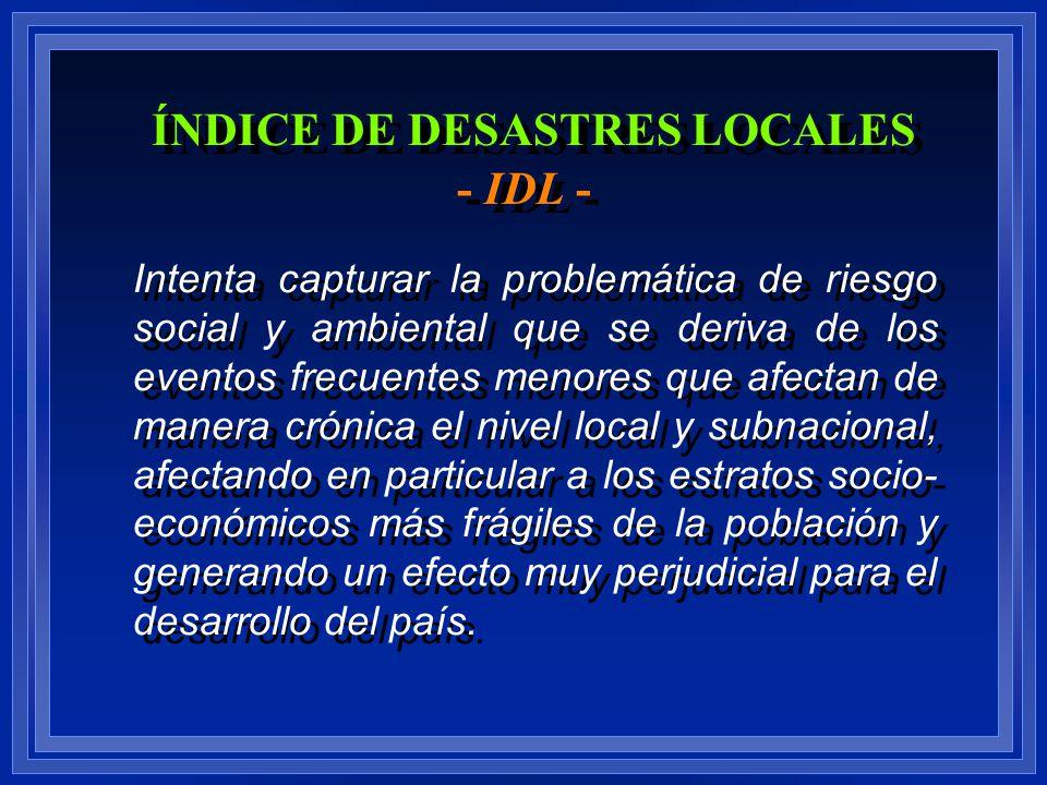 ÍNDICE DE DESASTRES LOCALES - IDL -