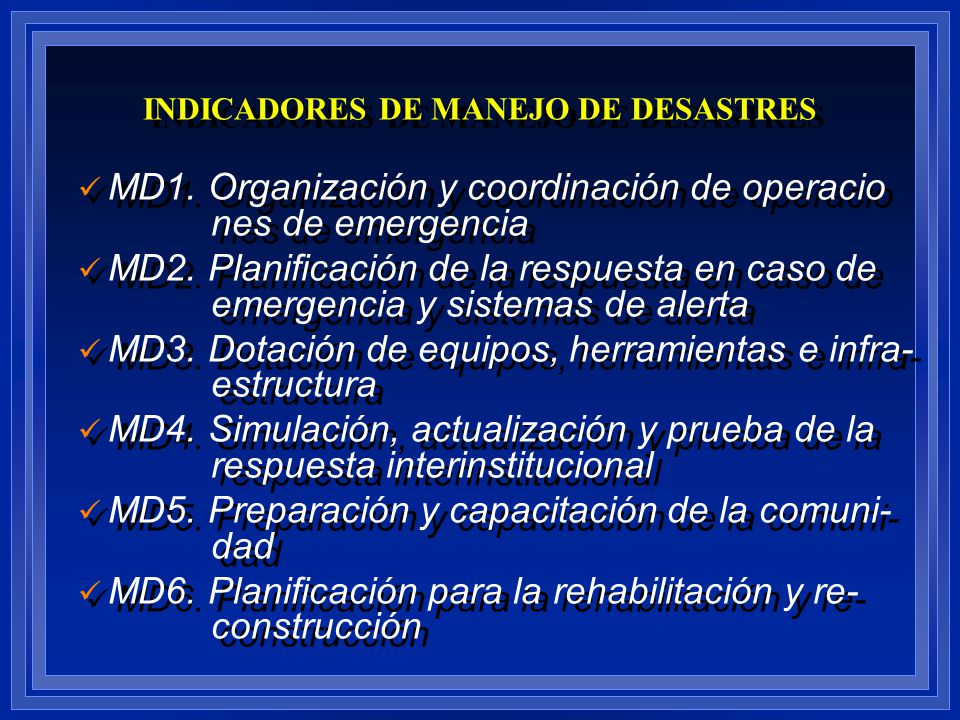 INDICADORES DE MANEJO DE DESASTRES